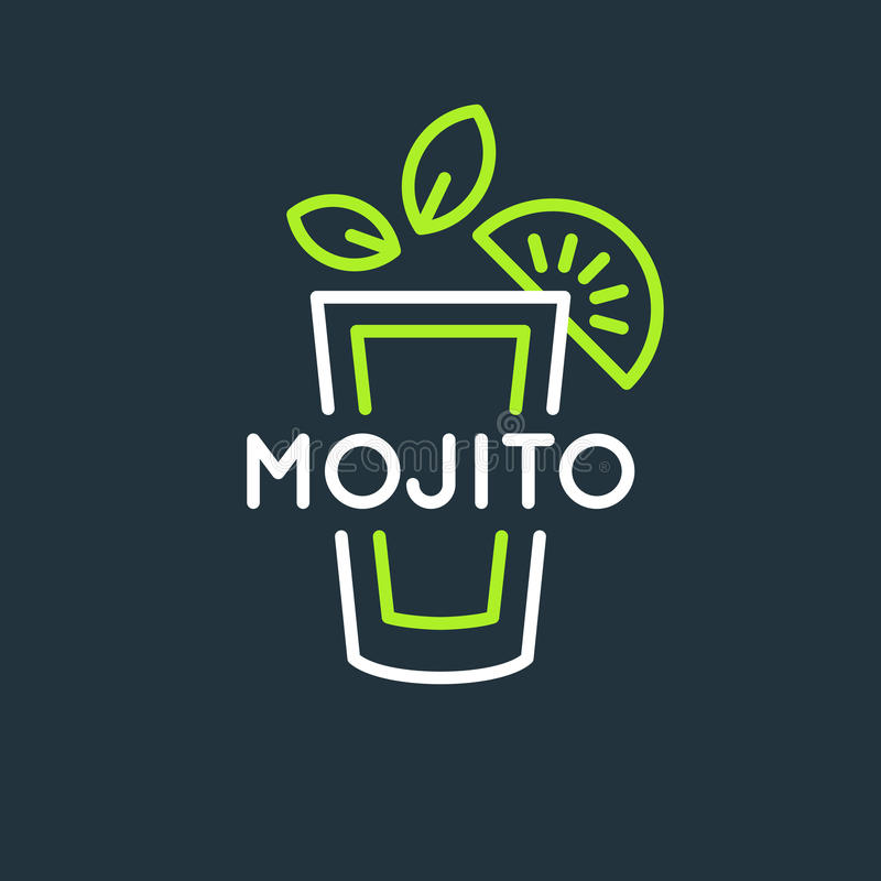 Illustration för den alkoholiserade coctailen Mojito för stångmeny Vektorlinje teckning av en drink på en bakgrund stock illustrationer