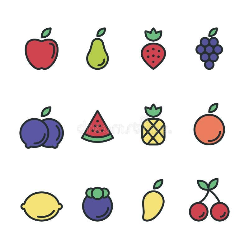 Download Illustration För Design För Lägenhet För Fruktsymbolsuppsättning Stock Illustrationer - Illustration av färgrikt, gulligt: 78726483