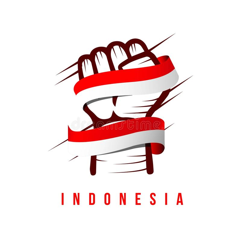 Illustration för design för hand- och flaggaIndonesien vektormall stock illustrationer