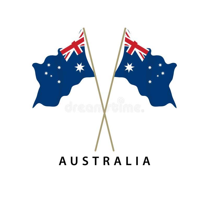 Illustration för design för mall för Australien flaggavektor vektor illustrationer