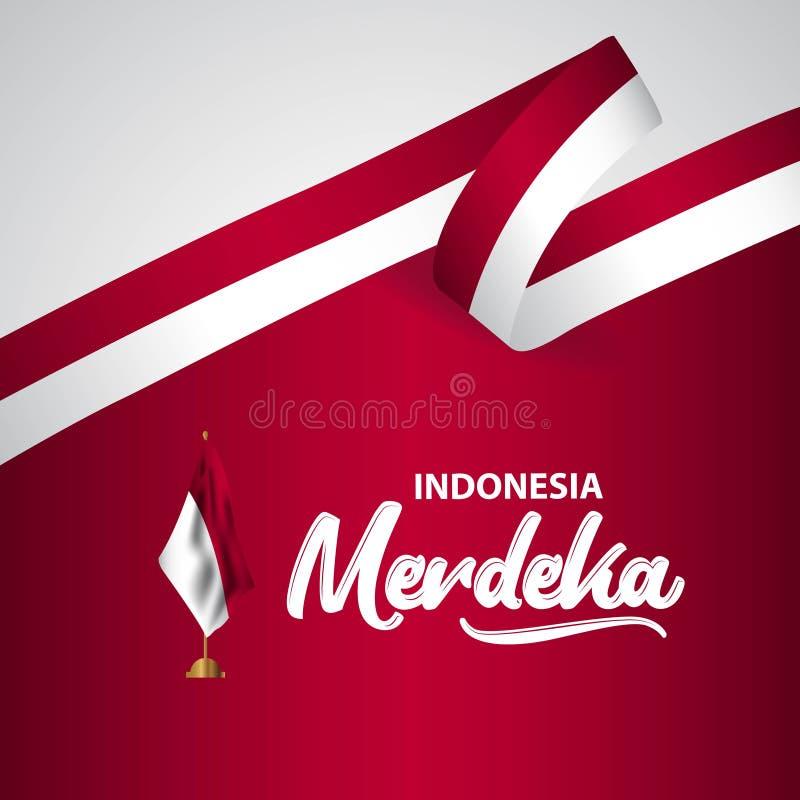 Illustration för design för mall för Indonesien Merdeka flaggavektor stock illustrationer