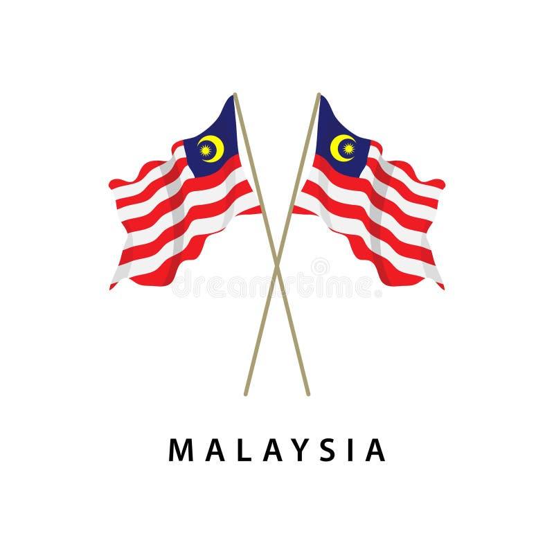 Illustration för design för mall för Malaysia flaggavektor vektor illustrationer