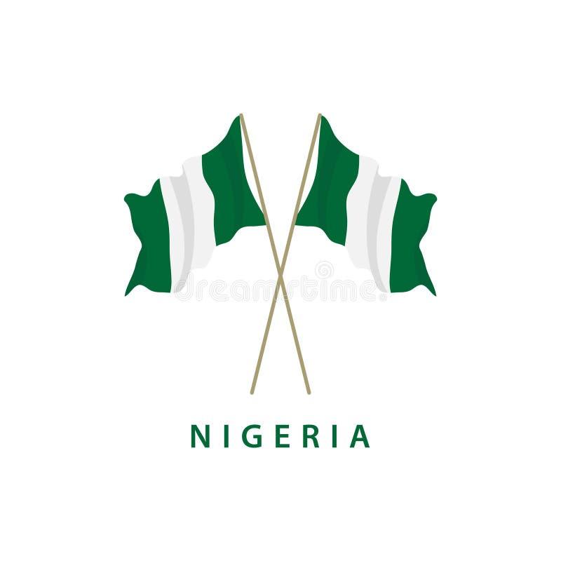 Illustration för design för mall för Nigeria flaggavektor stock illustrationer