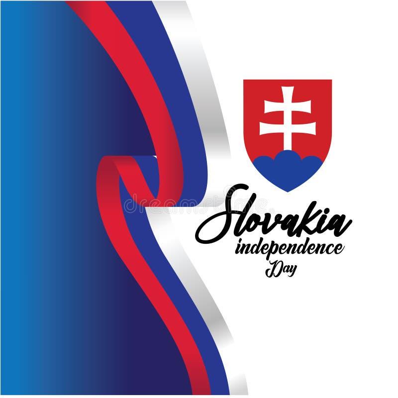 Illustration för design för mall för Slovakien självständighetsdagenvektor - vektor vektor illustrationer