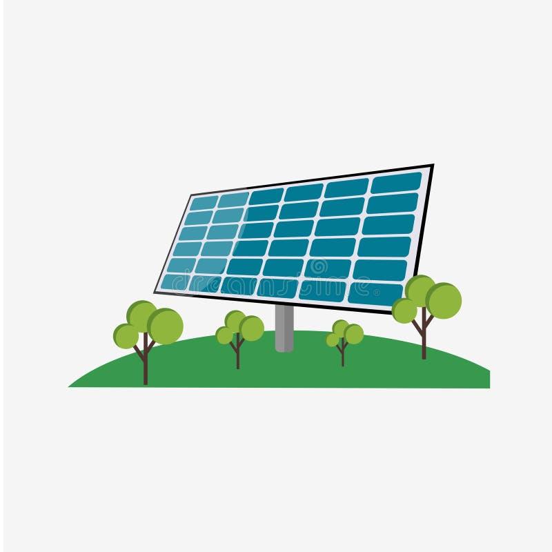 Illustration för design för mall för solpanelenergivektor royaltyfri illustrationer