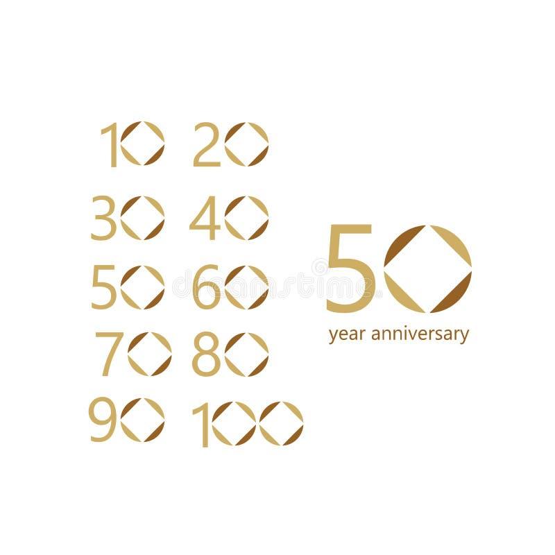 Illustration för design för mall för vektor för 50 år årsdag fastställd vektor illustrationer