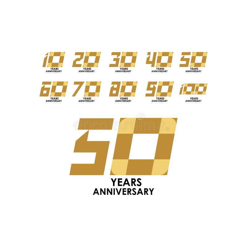 Illustration för design för mall för vektor för 50 år årsdag fastställd royaltyfri illustrationer