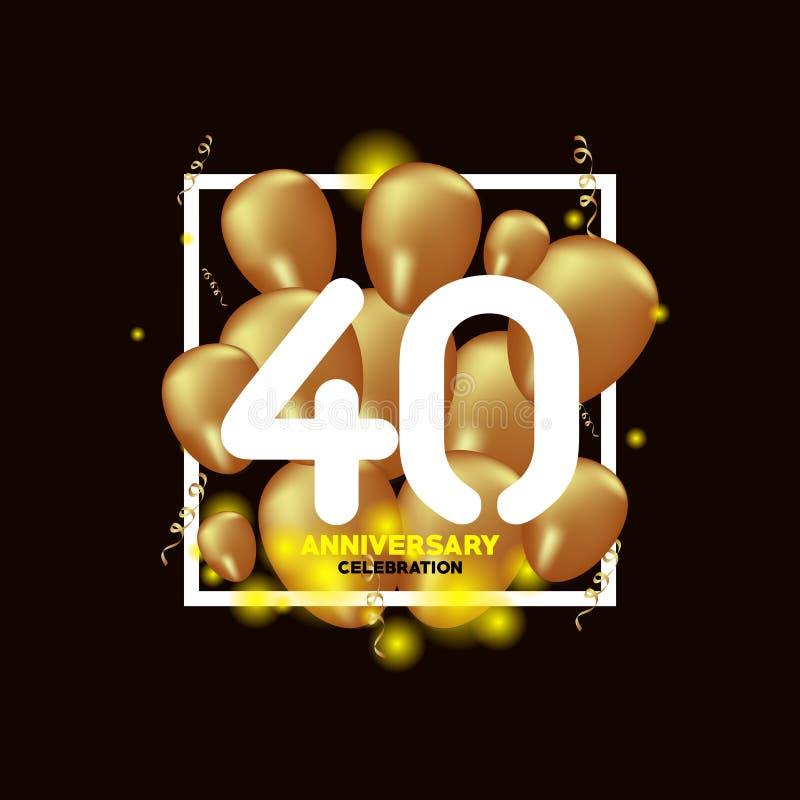Illustration för design för mall för vektor för ballong för 40 år årsdag vit guld- stock illustrationer