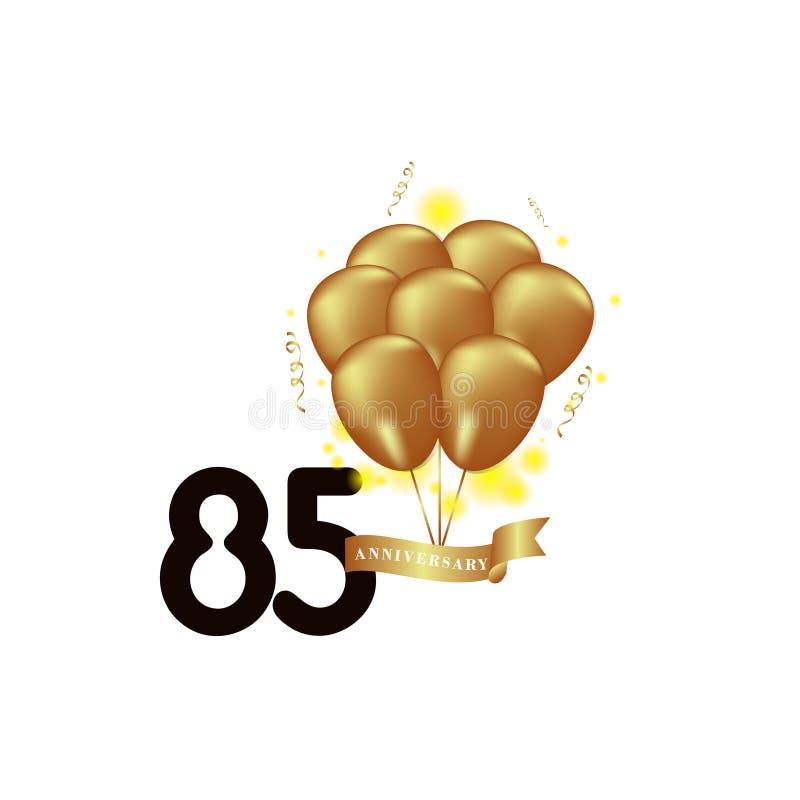 Illustration för design för mall för vektor för ballong för 85 år årsdagsvart guld- vektor illustrationer