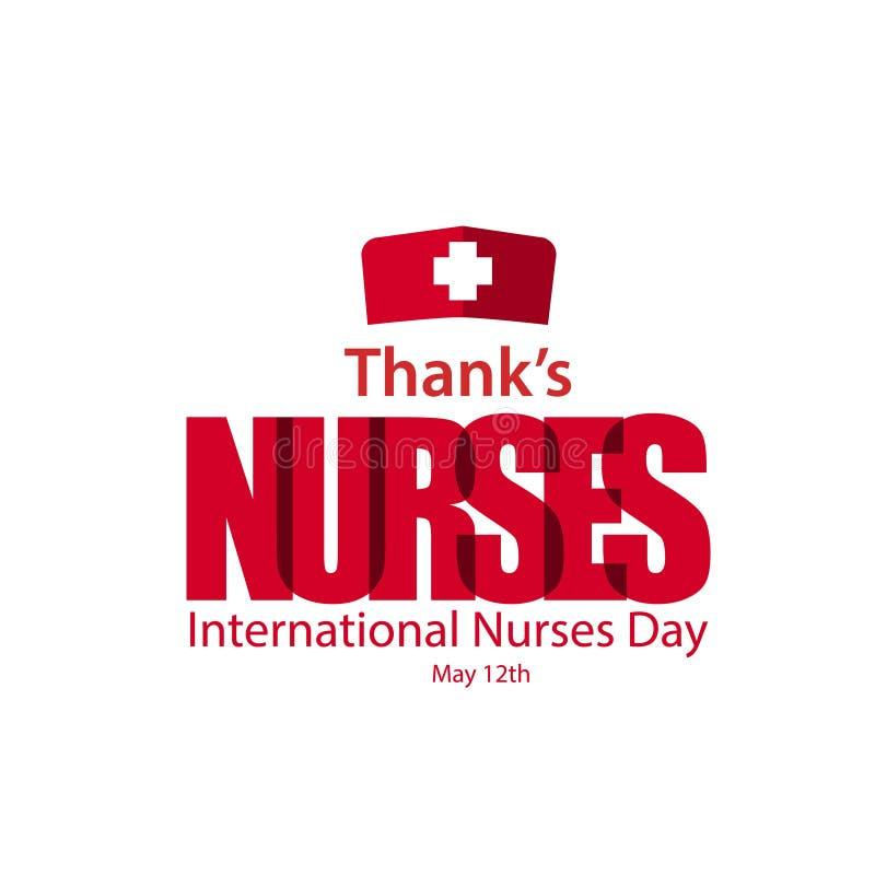 Illustration för design för mall för vektor för dag för sjuksköterskor för tacksjuksköterskor internationell stock illustrationer
