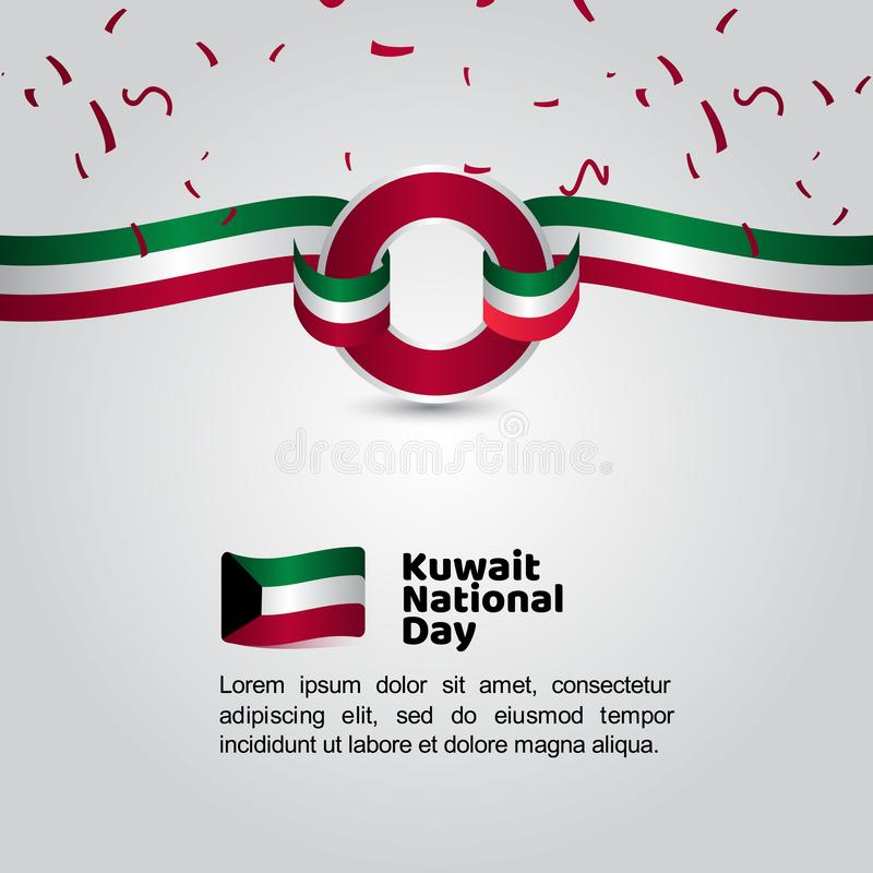 Illustration för design för mall för vektor för flagga Kuwait för nationell dag vektor illustrationer