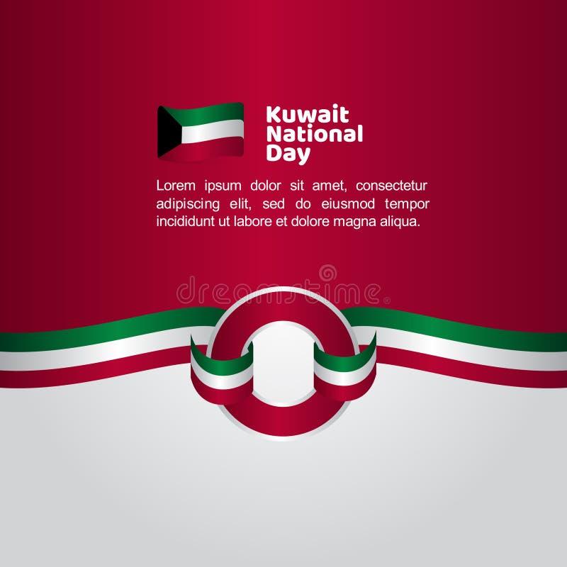 Illustration för design för mall för vektor för flagga Kuwait för nationell dag stock illustrationer