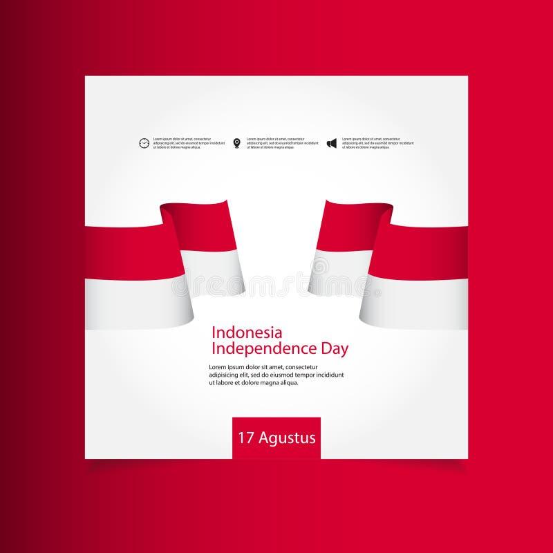 Illustration för design för mall för vektor för Indonesien självständighetsdagenberöm stock illustrationer