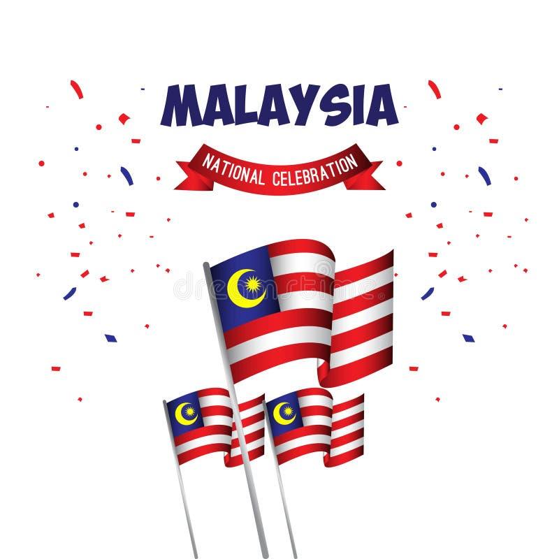 Illustration för design för mall för vektor för Malaysia nationell berömaffisch royaltyfri illustrationer