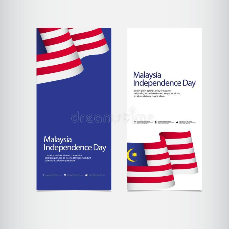 Illustration för design för mall för vektor för Malaysia självständighetsdagenberöm stock illustrationer