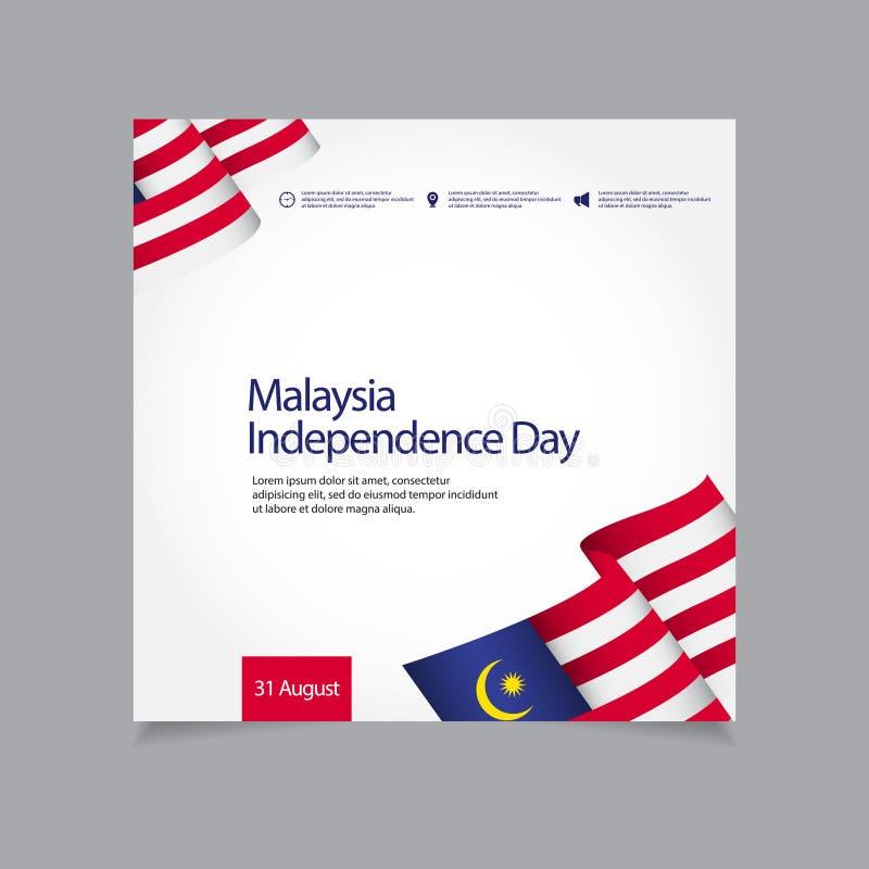 Illustration för design för mall för vektor för Malaysia självständighetsdagenberöm royaltyfri illustrationer