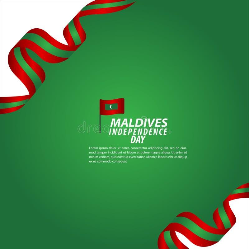 Illustration för design för mall för vektor för Maldiverna självständighetsdagenberöm stock illustrationer