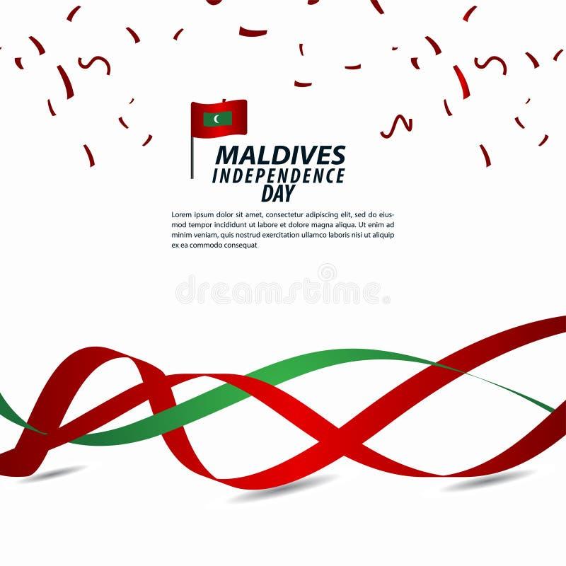 Illustration för design för mall för vektor för Maldiverna självständighetsdagenberöm royaltyfri illustrationer