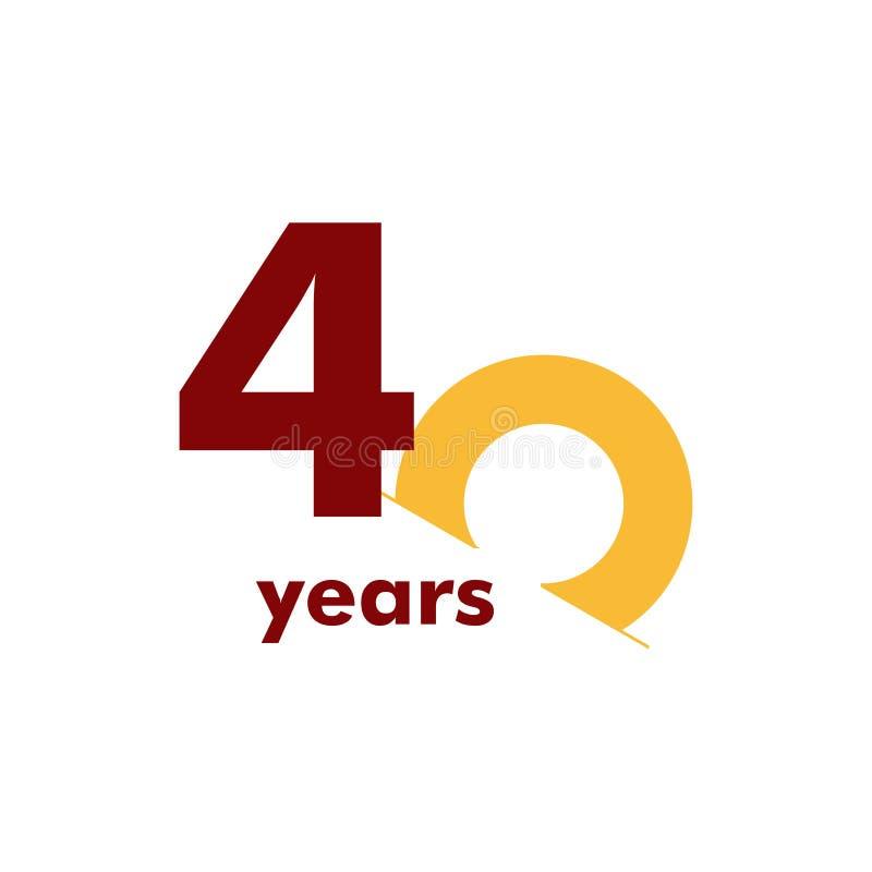 Illustration för design för mall för vektor för nummer för 40 år årsdag elegant vektor illustrationer