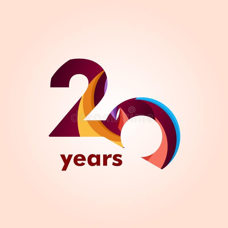 Illustration för design för mall för vektor för nummer för 20 år årsdag elegant royaltyfri illustrationer