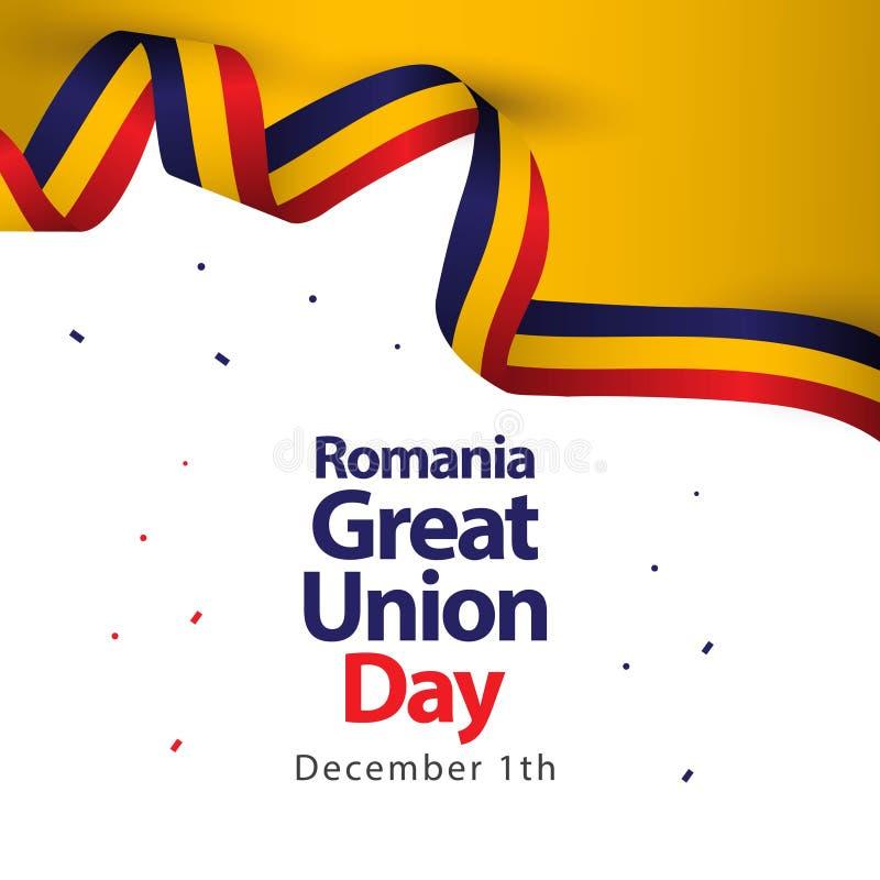 Illustration för design för mall för vektor för Rumänien stor uniondag vektor illustrationer