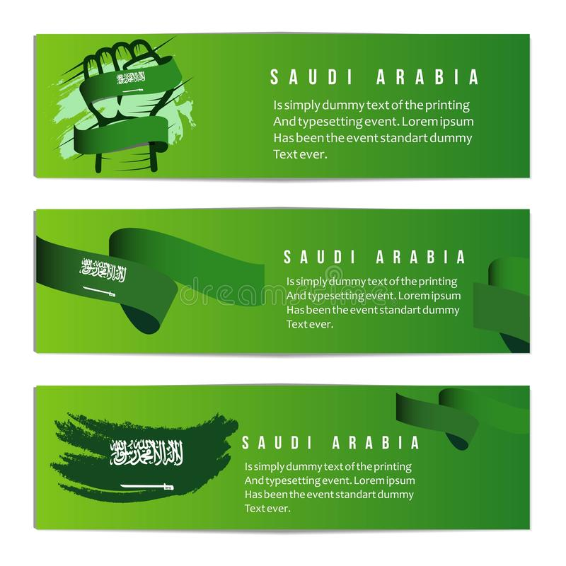 Illustration för design för mall för vektor för Saudiarabien oberoende dagbaner royaltyfri illustrationer
