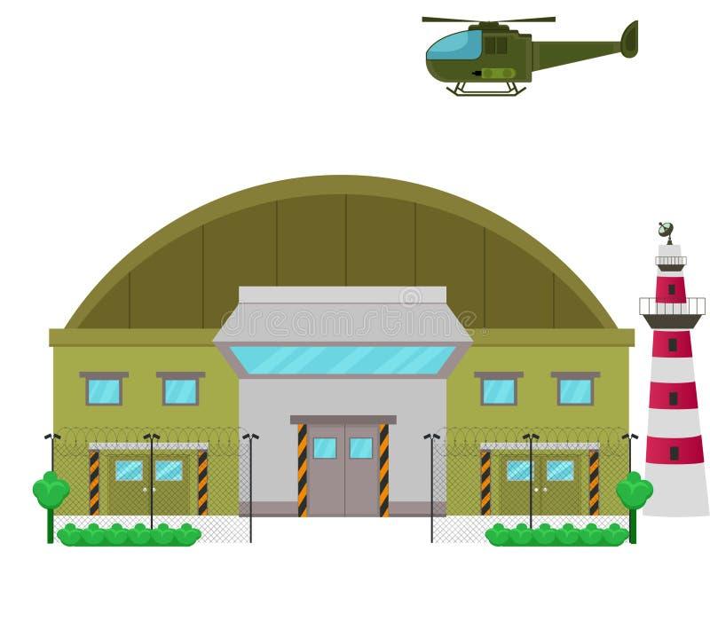 Illustration för design för militärbasläger plan royaltyfri illustrationer