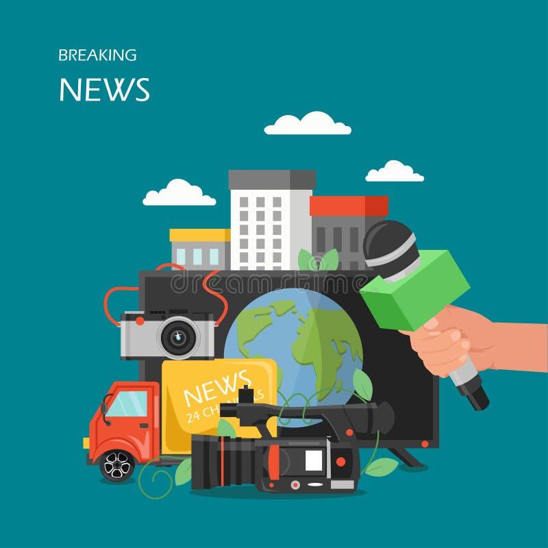 Illustration för design för stil för breaking newsvektor plan vektor illustrationer