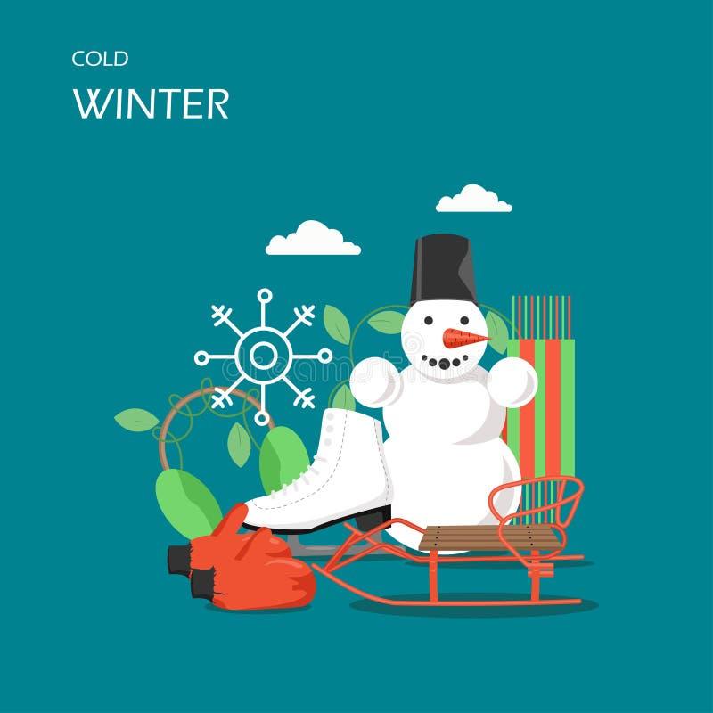 Illustration för design för stil för kall vintervektor plan vektor illustrationer