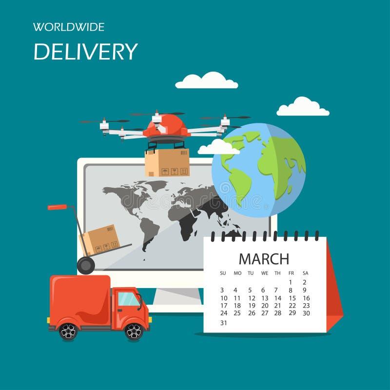 Illustration för design för stil för världsomspännande leveransvektor plan vektor illustrationer