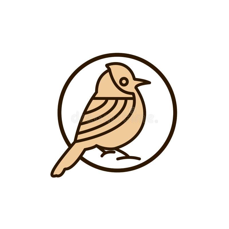 Illustration för design för vektor för fågelmonolinelogo royaltyfri illustrationer