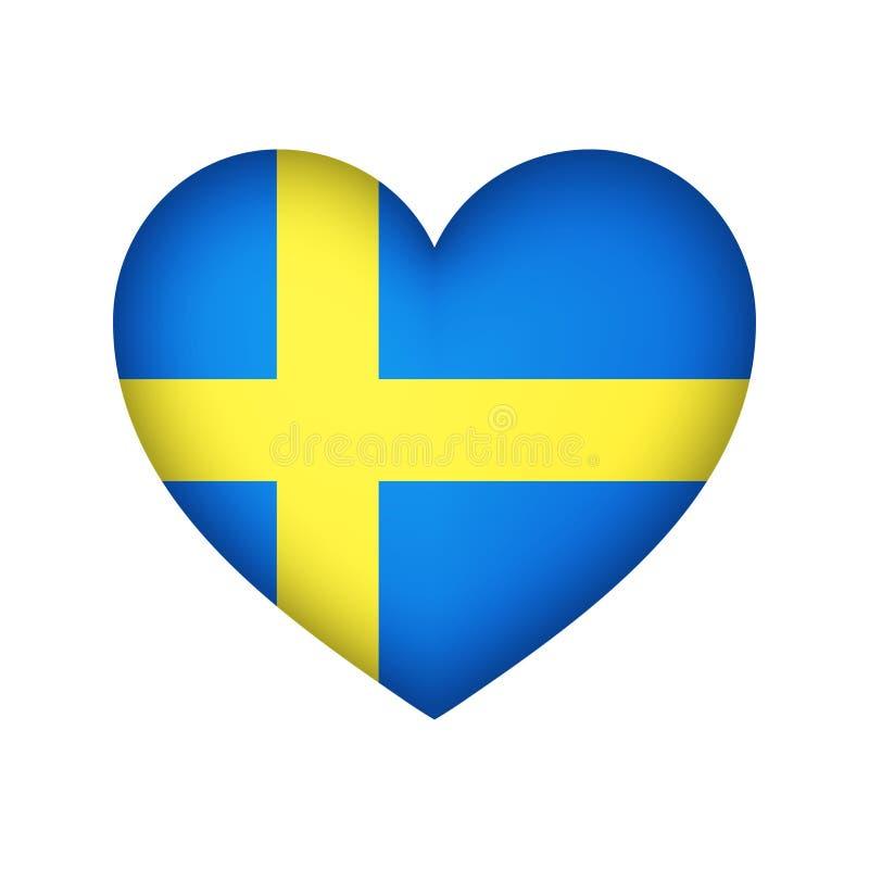 Illustration för design för vektor för Sverige hjärtaflagga vektor illustrationer