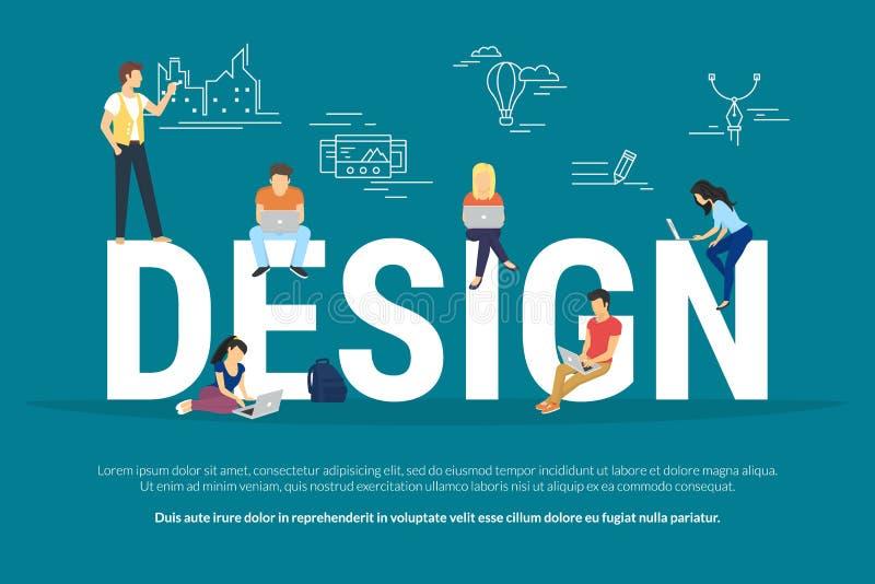Illustration för designbegrepp av ungdomarsom använder bärbara datorn vektor illustrationer