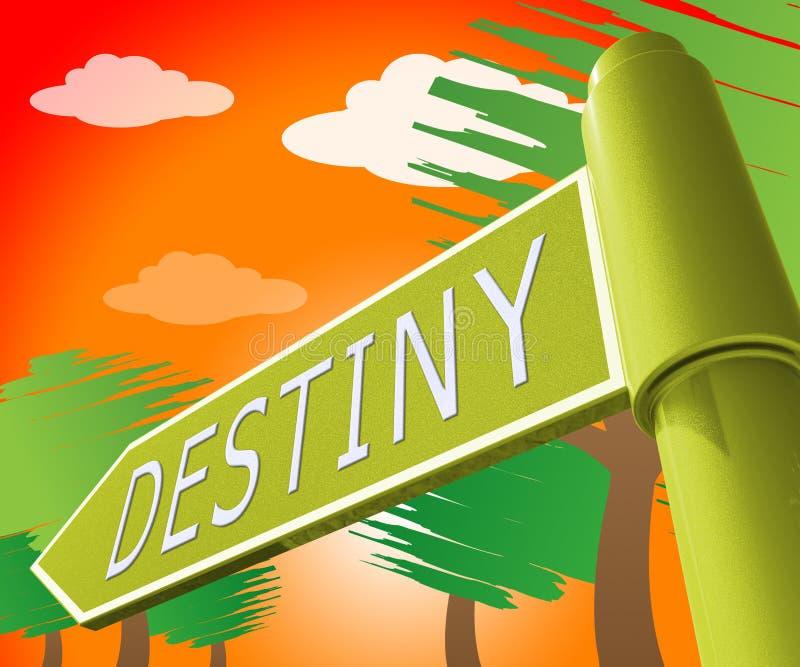 Illustration för Destiny Sign Displaying Progress And förutsägelse 3d stock illustrationer