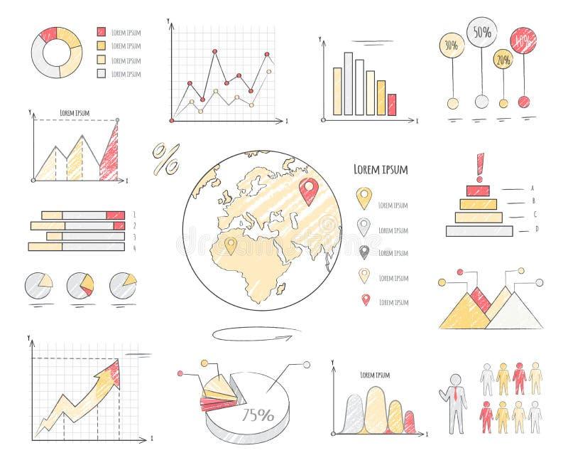 Illustration för diagram för jordbefolkningstatistik stock illustrationer