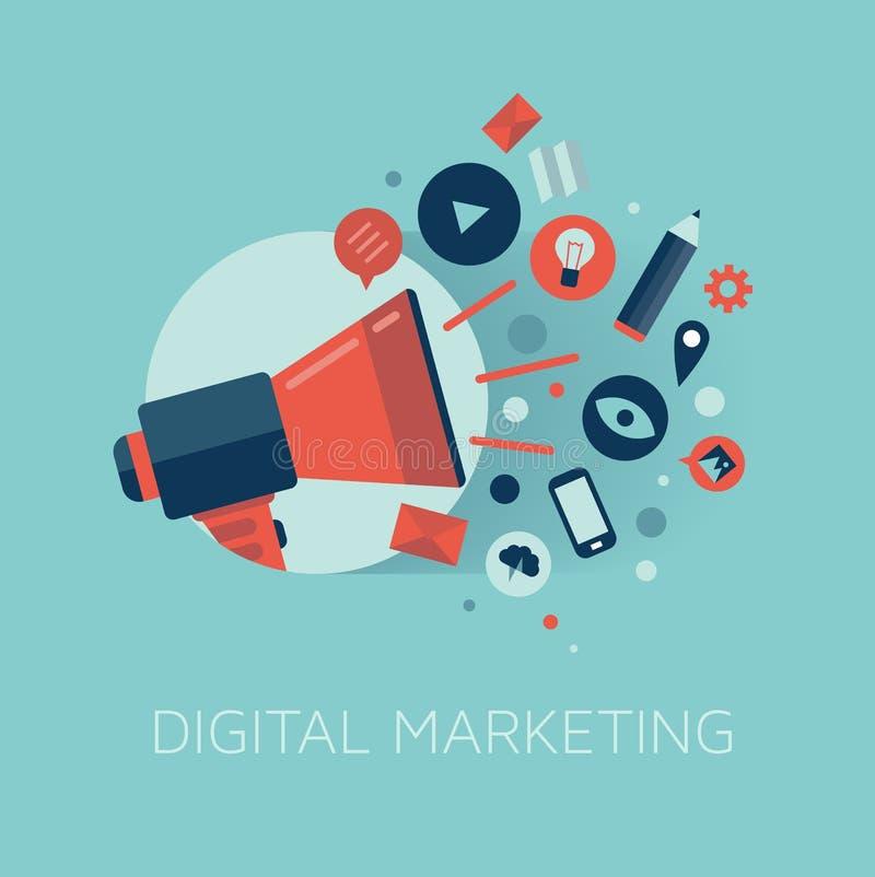 Illustration för Digital marknadsföringsbegrepp royaltyfri illustrationer