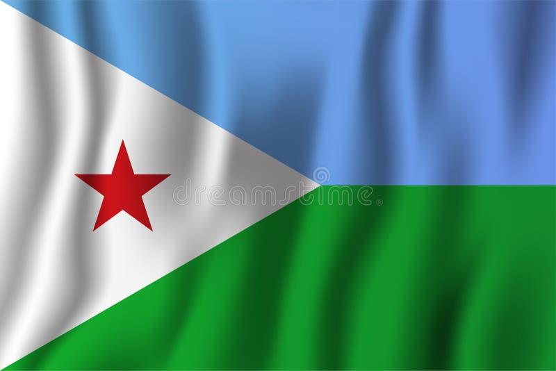 Illustration för Djibouti realistisk vinkande flaggavektor Nationell cou royaltyfri illustrationer