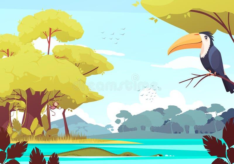 Illustration för djungellandskaptecknad film royaltyfri illustrationer