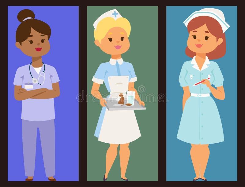 Illustration för doktorat för folk för lag för sjukhus för design för lägenhet för personal för kvinna för broschyr för vektor fö stock illustrationer