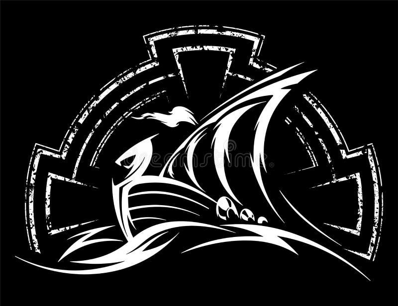 Illustration för Drakkar vikingvektor fotografering för bildbyråer