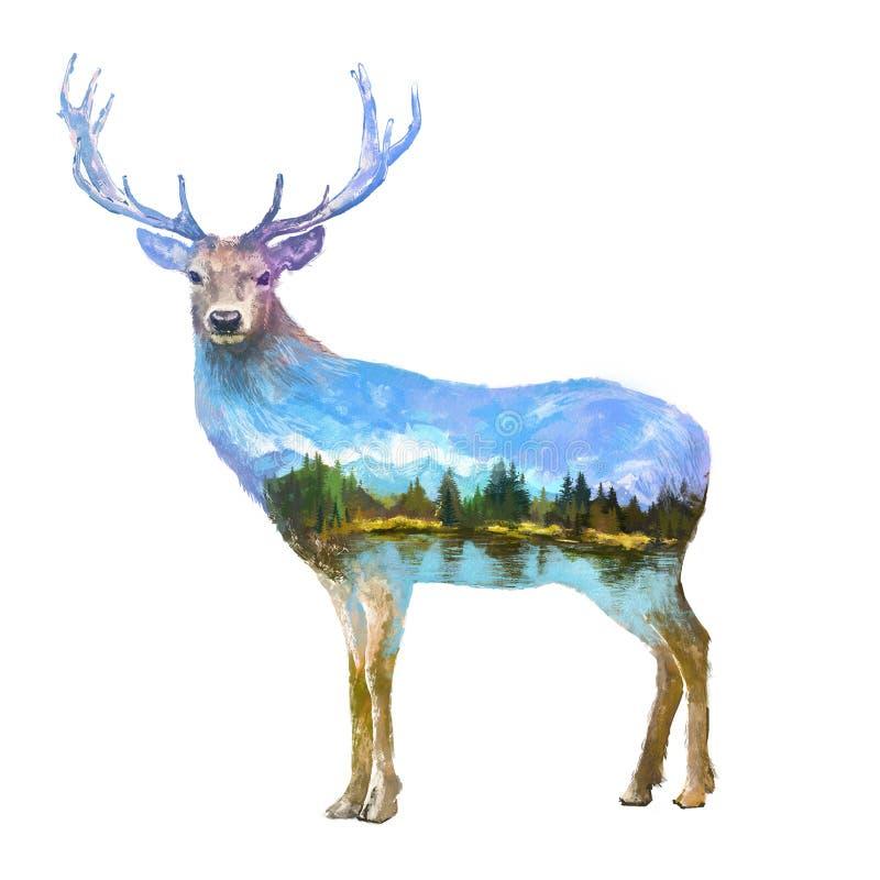 Illustration för dubbel exponering för hjortar