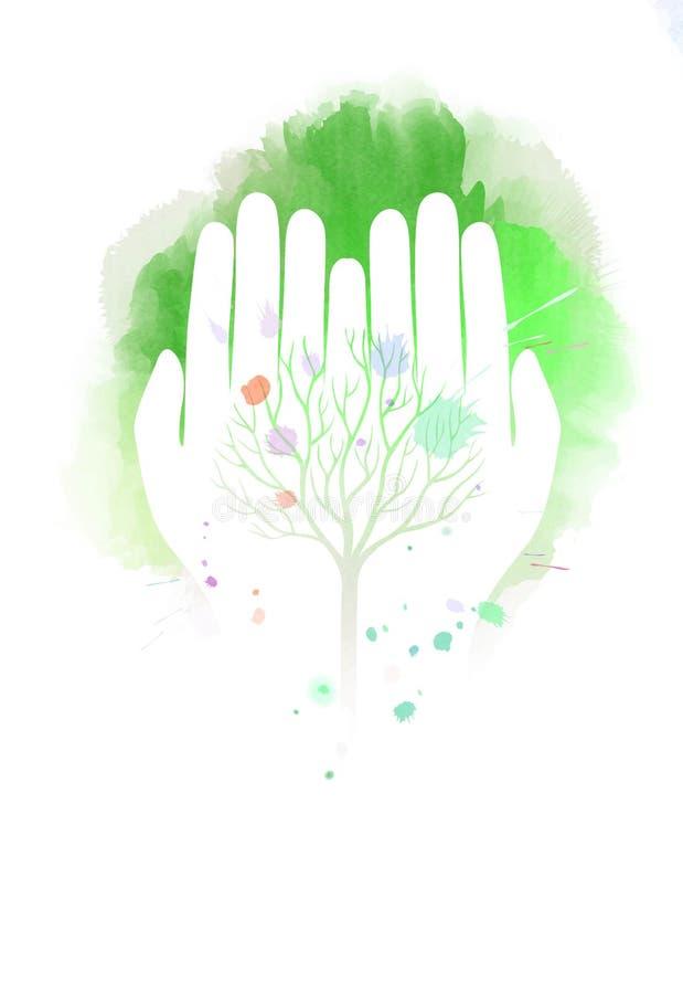 Illustration för dubbel exponering Mänskliga händer som rymmer trädsymbolwi royaltyfri illustrationer