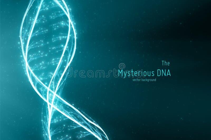 Illustration för dubbel spiral för DNA för vektor abstrakt Mystisk källa av livbakgrund Genom futuristisk bild begreppsmässigt vektor illustrationer