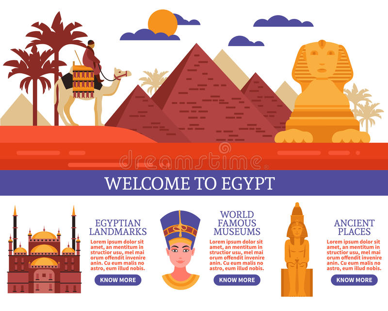 Illustration för Egypten loppvektor vektor illustrationer