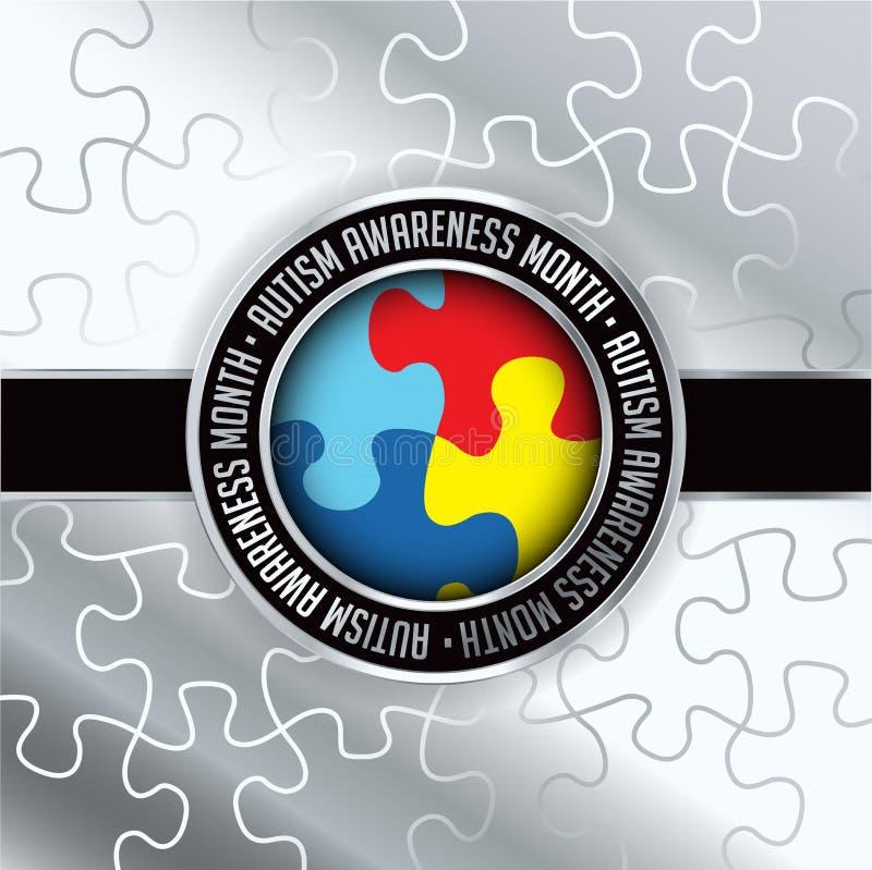 Illustration för emblem för autismmedvetenhetmånad royaltyfri illustrationer