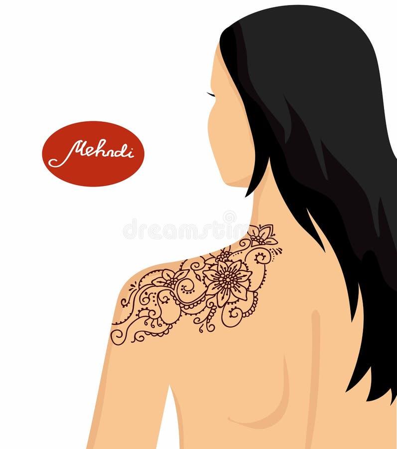 Illustration för en yogastudio, tatuering, brunnsorter, vykort, souvenir stock illustrationer