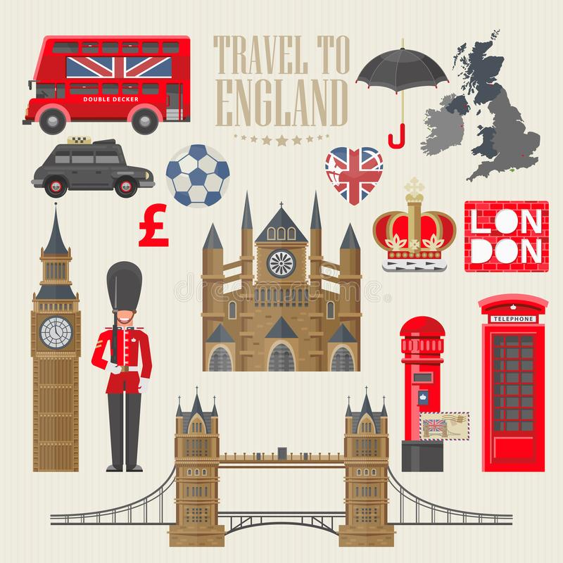 Illustration för England loppvektor Lopp till England se Semester i Förenade kungariket Storbritannien bakgrund Resa till UK royaltyfri illustrationer