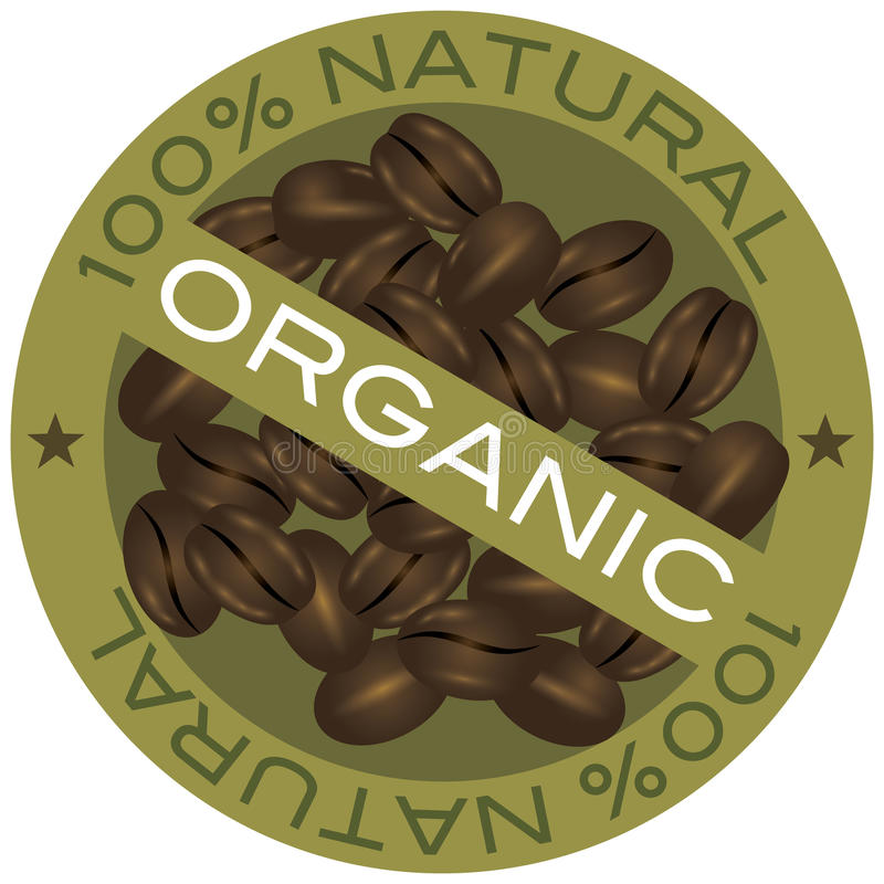 Illustration för etikett för kaffebönor organisk vektor illustrationer