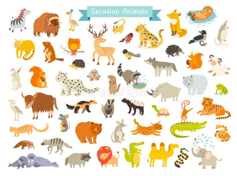 Illustration för Eurasiandjurvektor Den färdigaste stora vektoruppsättningen av däggdjur i Eurasia royaltyfri illustrationer