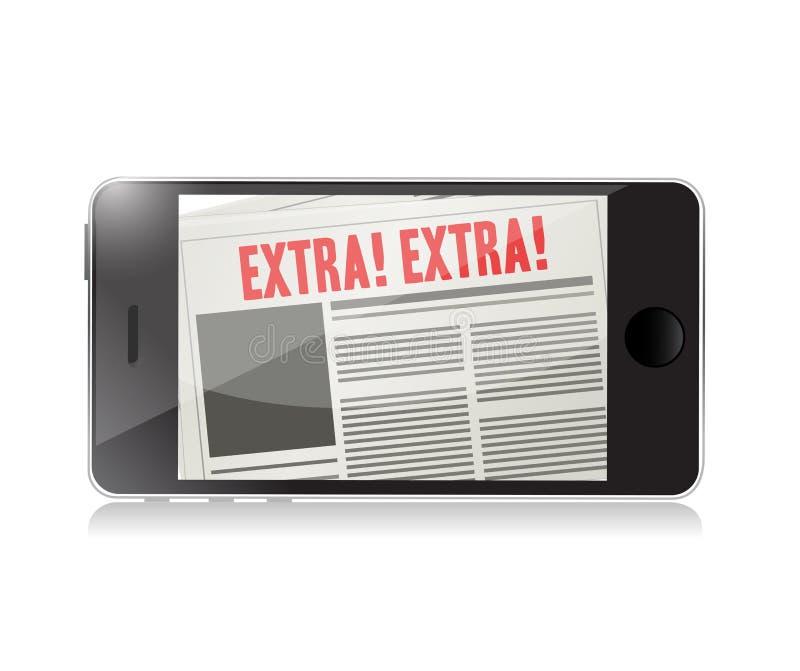 illustration för extra nyheterna för telefon online- stock illustrationer